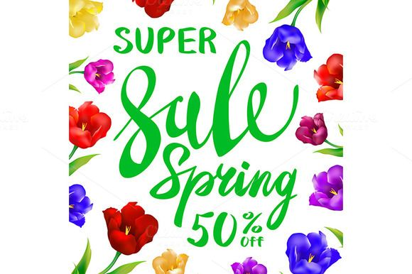 Spring sale lettering tulips vector by Rommeo79 on @creativemarket