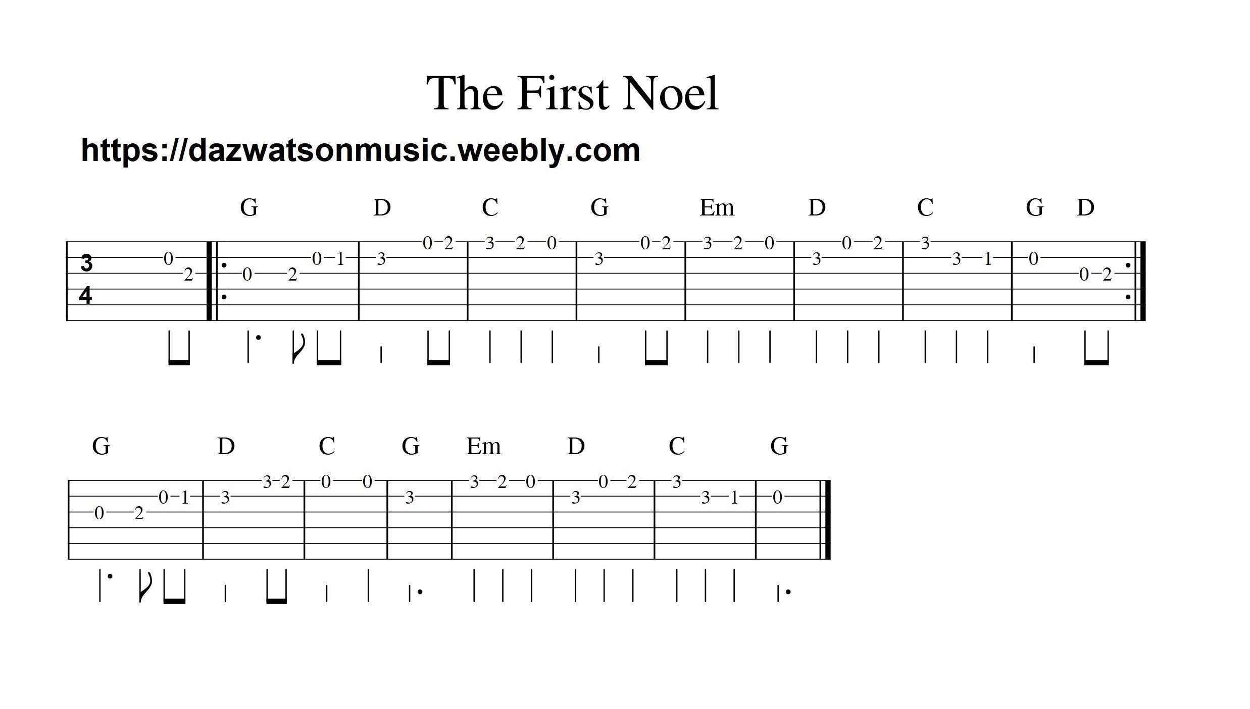 the first noel easy guitar tab Guitar tabs, Easy guitar