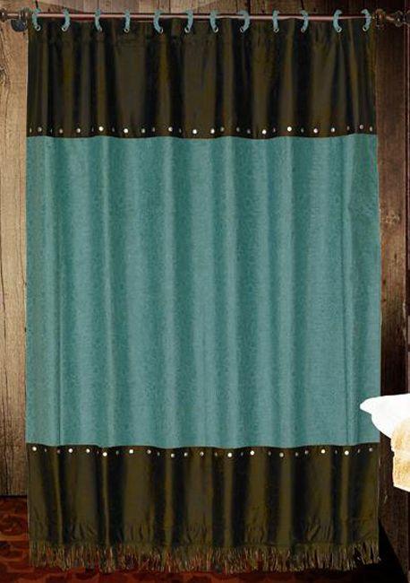 Western Shower Curtains: Cheyenne Turquoise Shower Curtain|Lone Star Western  Decor