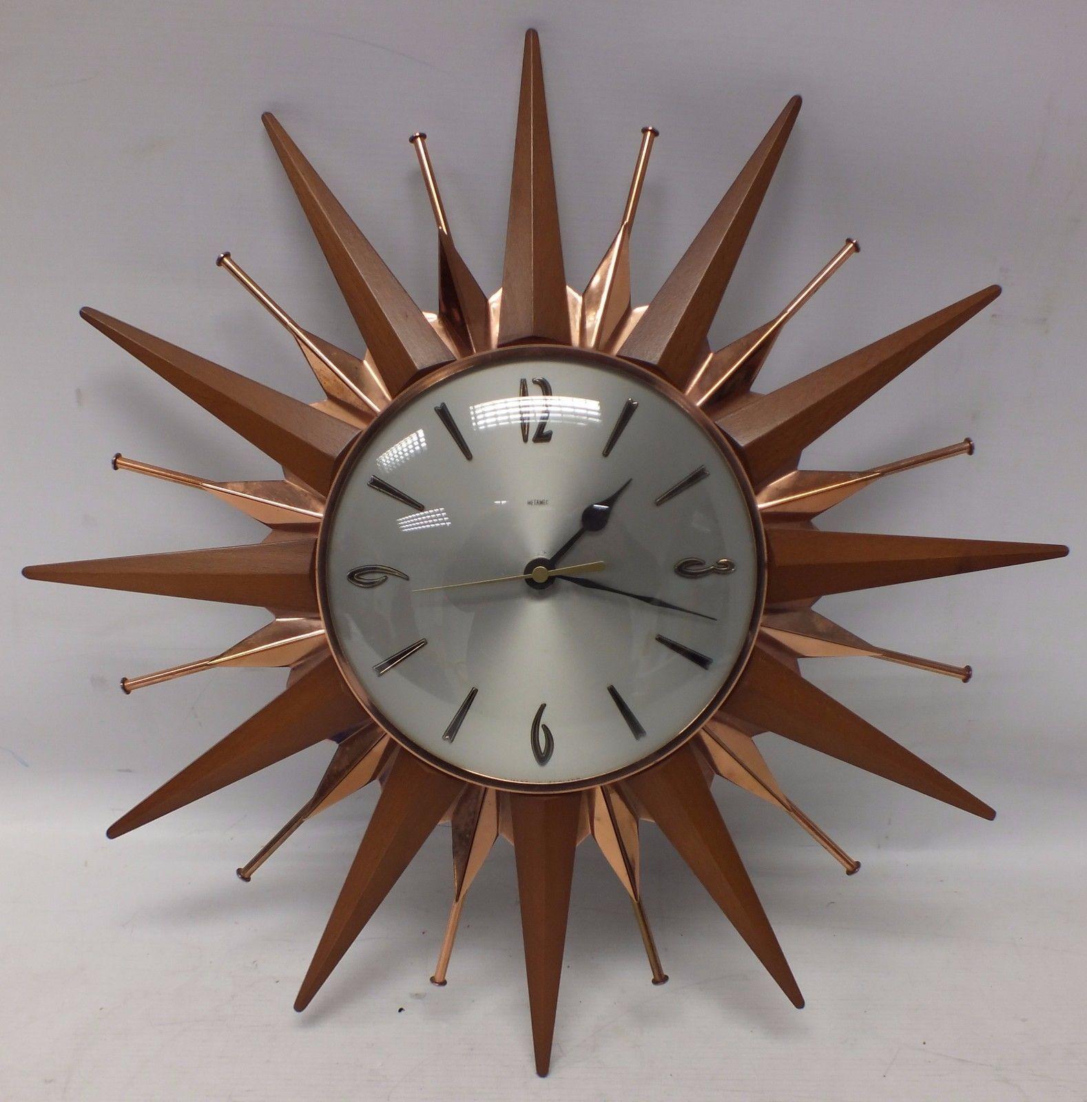 vintage retro metamec sunburst teak veneer battery on wall clocks battery operated id=68369