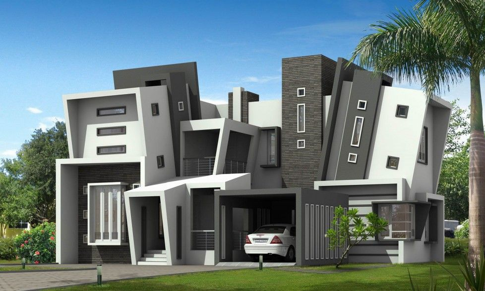 Download Unique Shape Of Two Story Modern Minimalist House Design