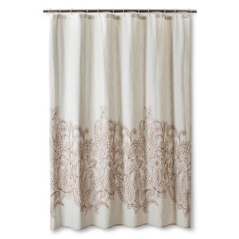 Threshold Kareem Embroidered Paisley Shower Curtain Toffee