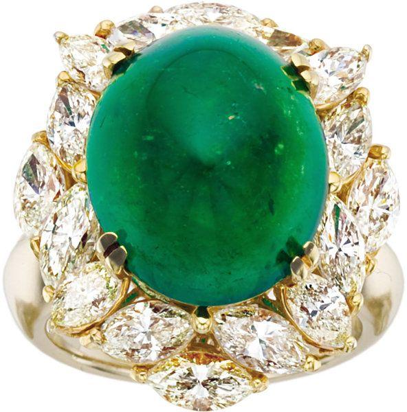 Emerald, Diamond, Gold Ring.