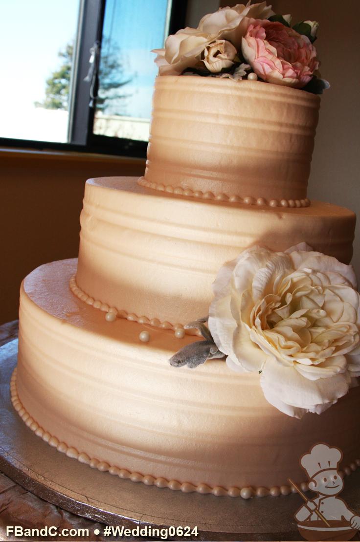 "Design W 0624 Butter Cream Wedding Cake 14""+10""+6"