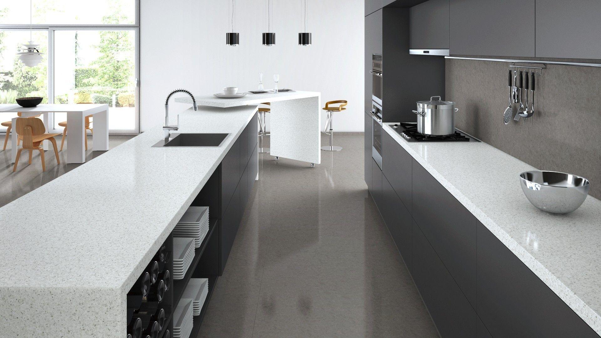 White Benchtop Dark Cupboards Tiles And Splashback Kitchen Kitchen Flooring Kitchen Benches Kitchen Tiles