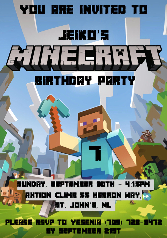Minecraft birthday invitation inspired by etsy