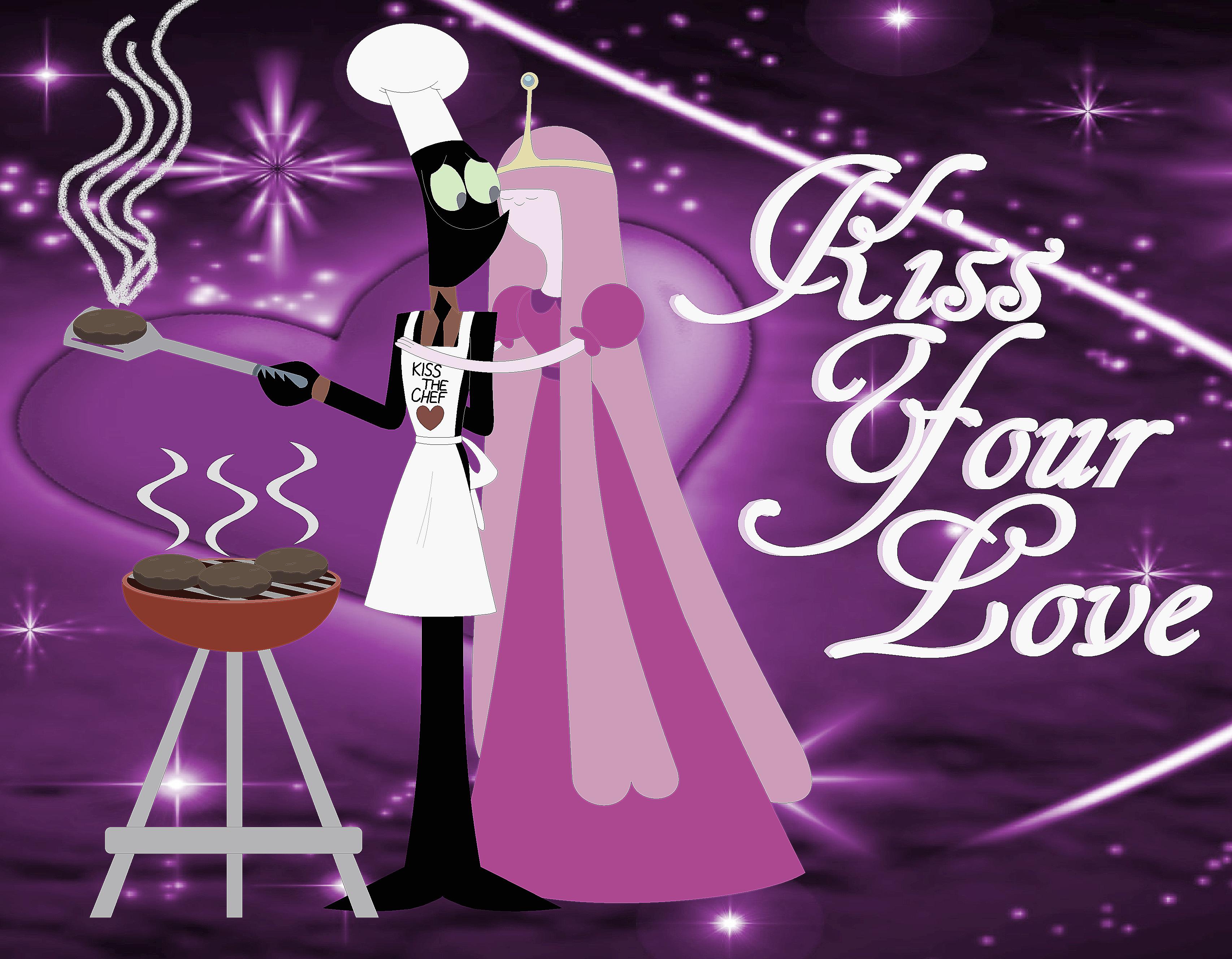 Nergal And Princess Bubblegum Kiss The Chef for Love <3 :)
