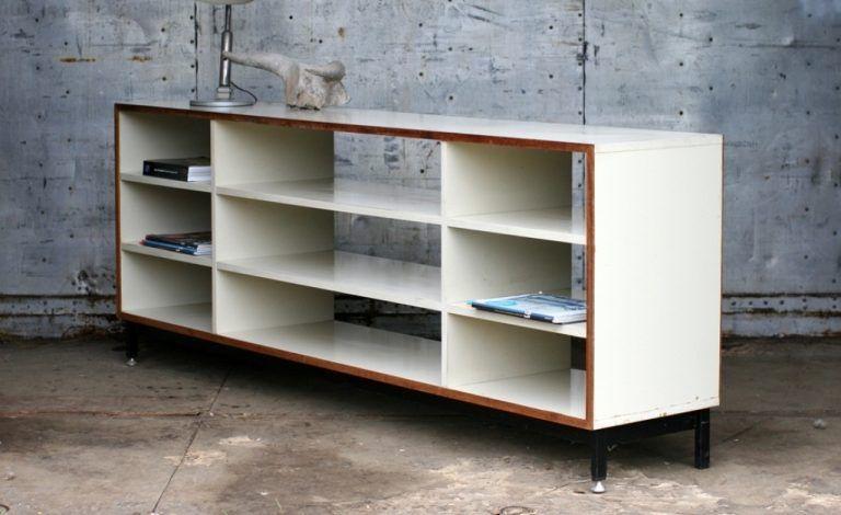 retro vintage eromes schoolkast dressoir roomdivider lage boekenkast