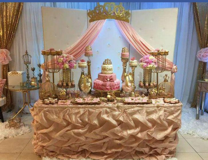 Crown princess table setting birthday baby shower baby | Princess ...