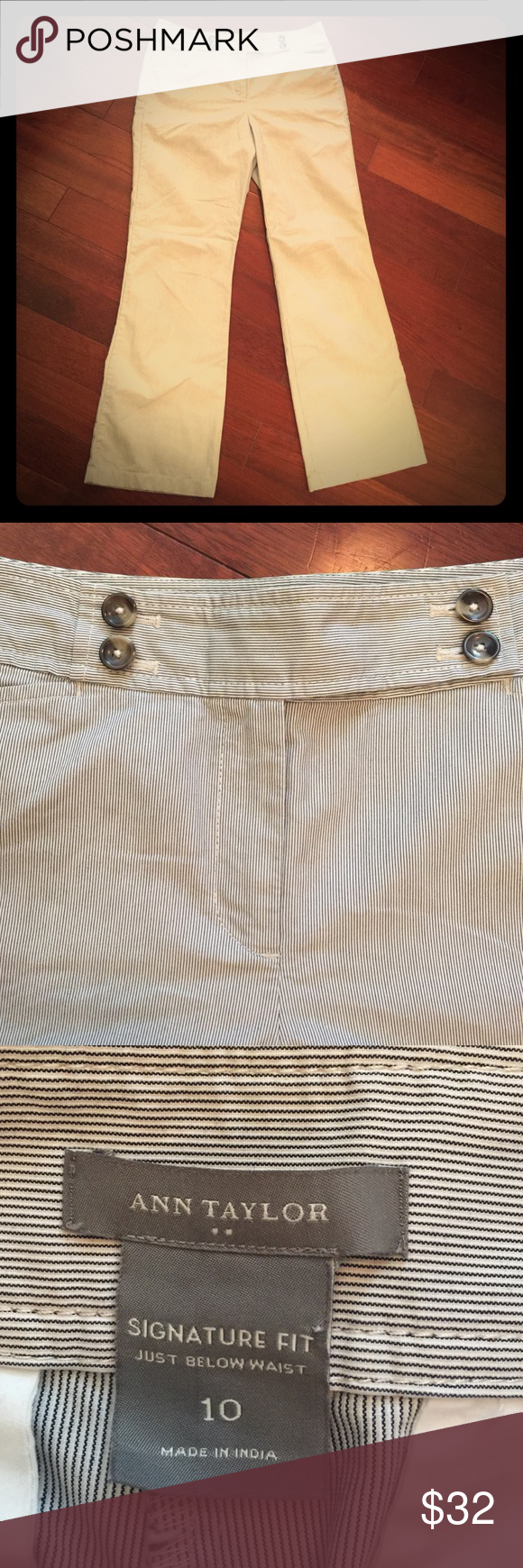 """Ann Taylor. Size: 10. Style: Signature Fit. Ann Taylor. Size: 10. Style: Signature Fit. Just Below the waist. Wide leg trouser pants. Inseam: 31.5"""". Front rise: 10.75"""". White and mine blue pinstripes. Ann Taylor Pants Trousers"""