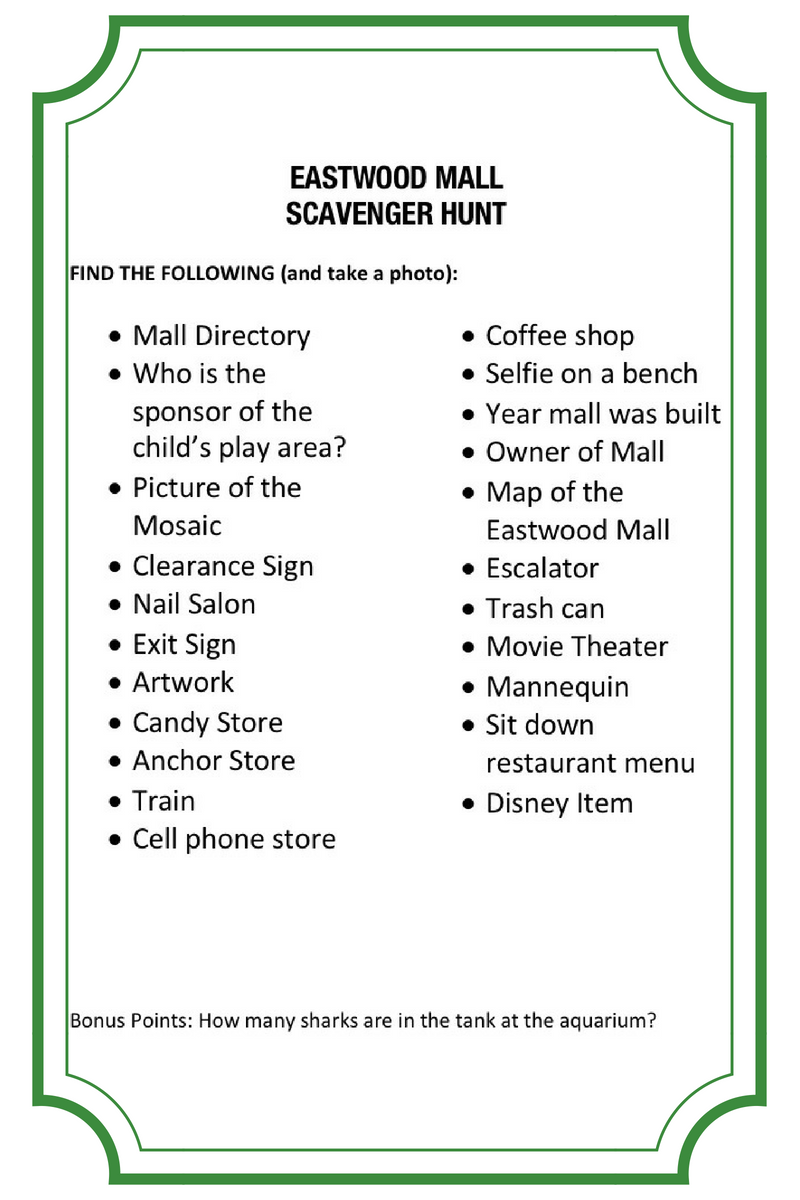 Lunch And Learn At The Mall Mall Scavenger Hunt History And More A Mother S Random Thoughts Mall Scavenger Hunt Scavenger Hunt Scavenger Hunt List