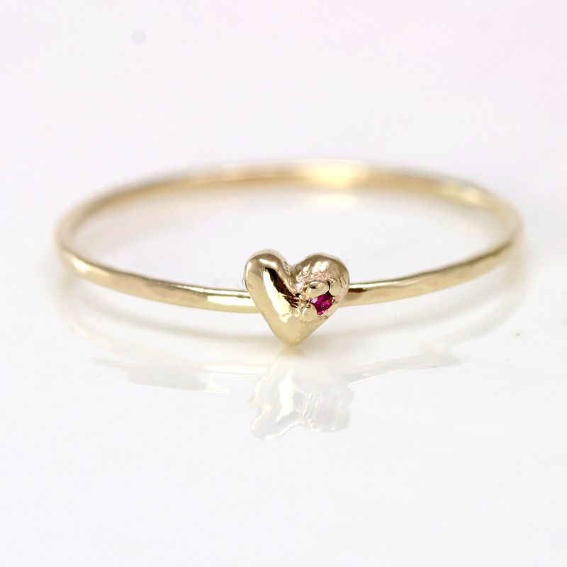 ruby heart ring in 14k gold Rings 3 Pinterest