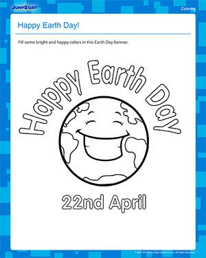 happy earth day free earth day coloring worksheet for kids earth day earth day happy. Black Bedroom Furniture Sets. Home Design Ideas