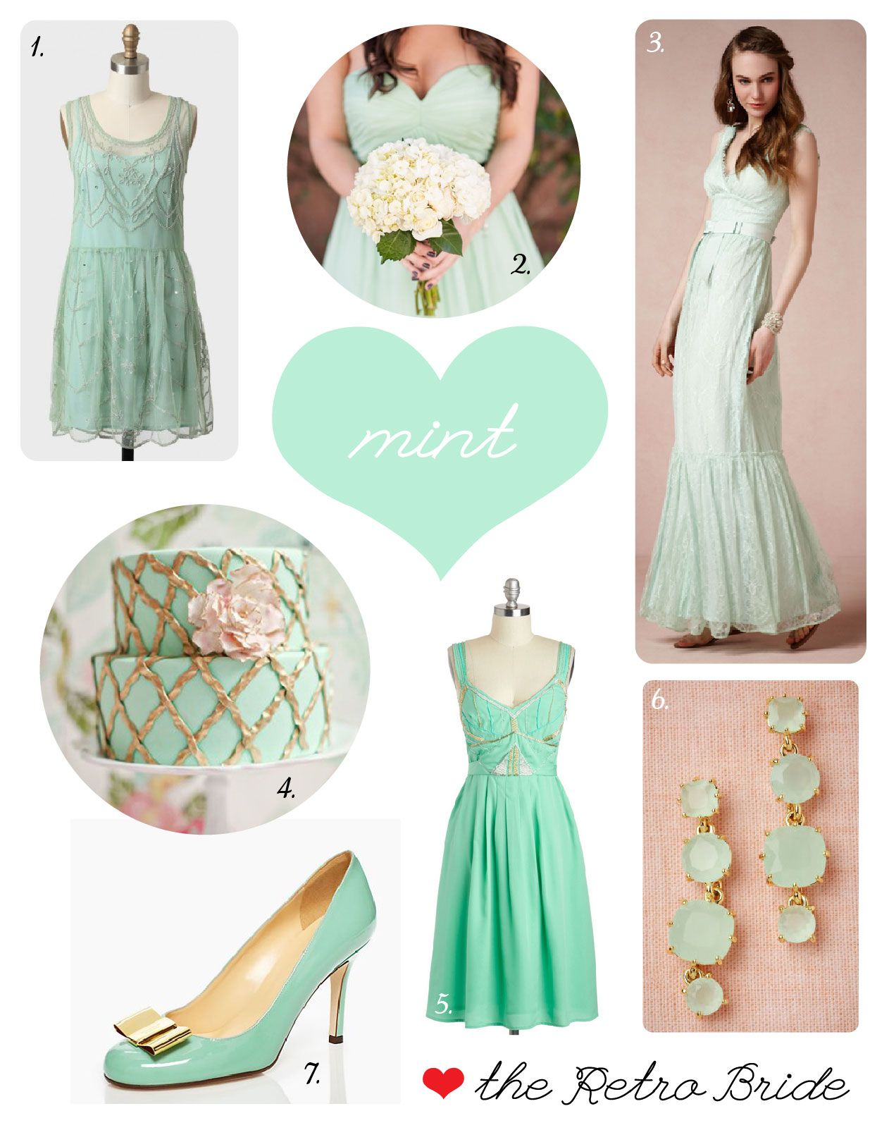 Mint Wedding Trends via the Retro Bride --- the number 1 photo as bridesmaids dress