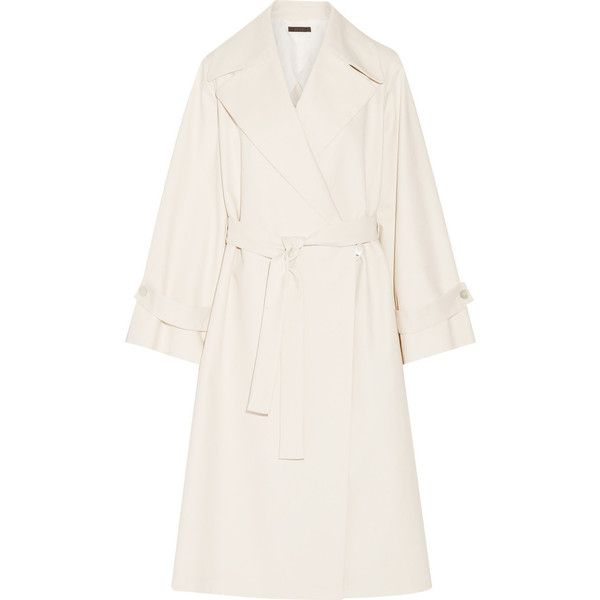 The Row Swells oversized stretch-cotton coat (€1.675) ❤ liked on Polyvore featuring outerwear, coats, trench coat, oversized trench coat, white winter coat, cinch coats and ivory coat