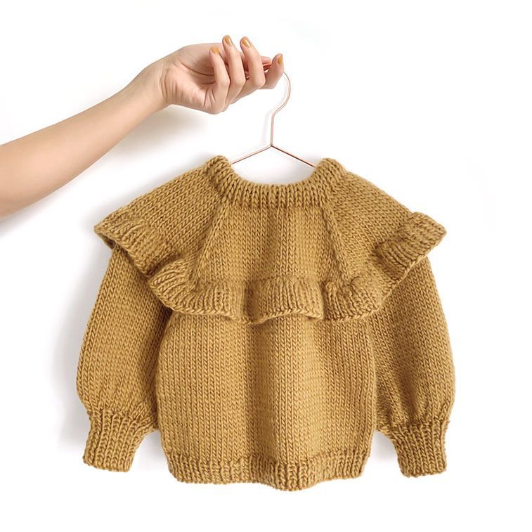 Knitted Ruffle Sweater for girl – Pattern & Tutorial