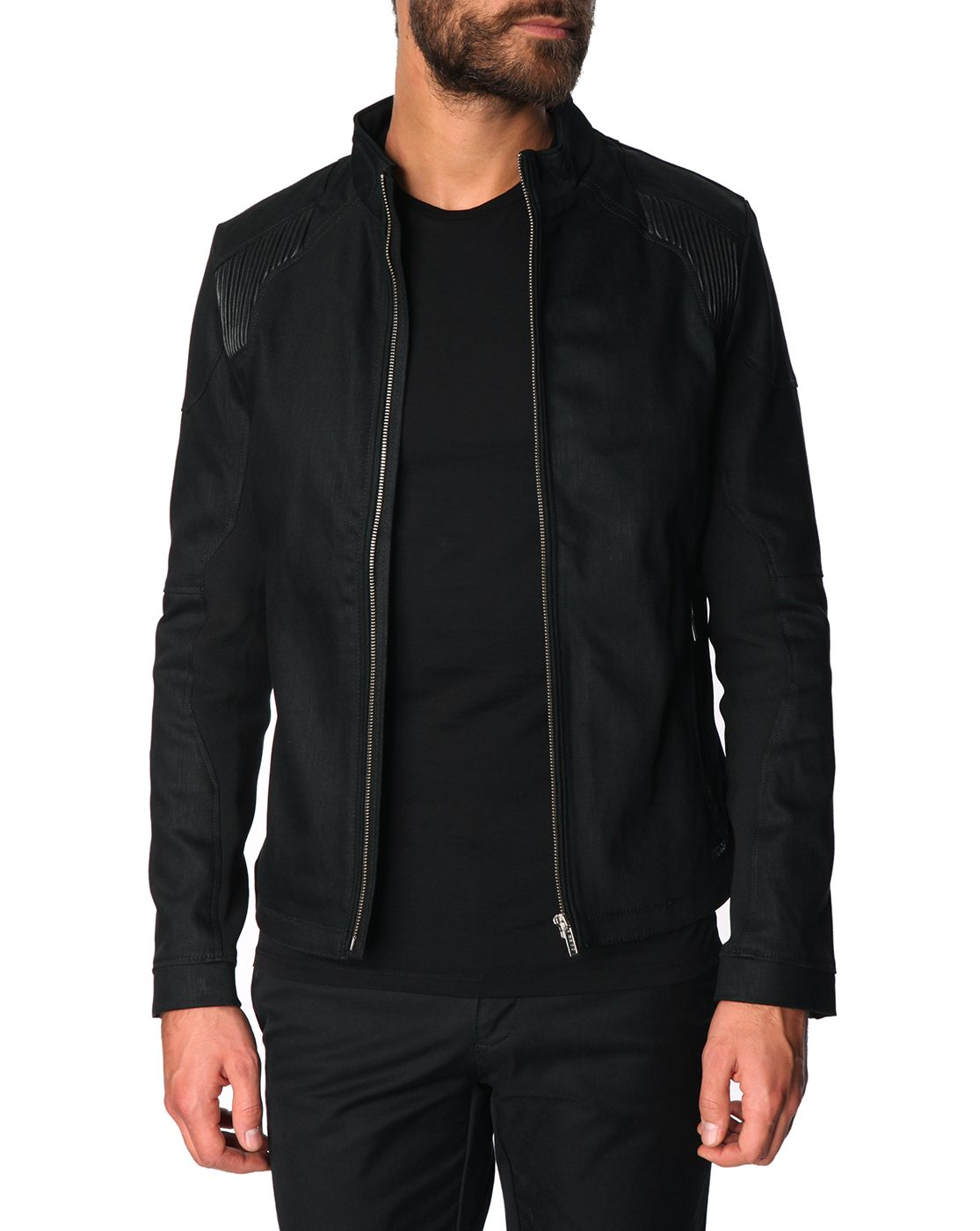 Denim Biker Jacket with Black Patches