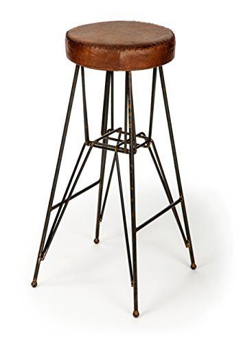 The Rockefeller Handmade Tall Leather Stool From The Barrel Shack