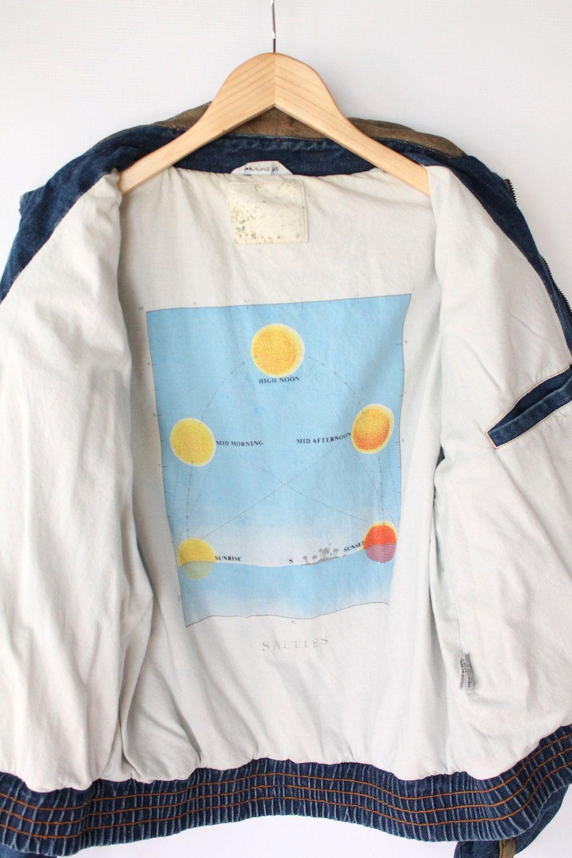 Vintage 80s Mens Denim Bomber Jacket with Astronomy Lining // VAUX VINTAGE