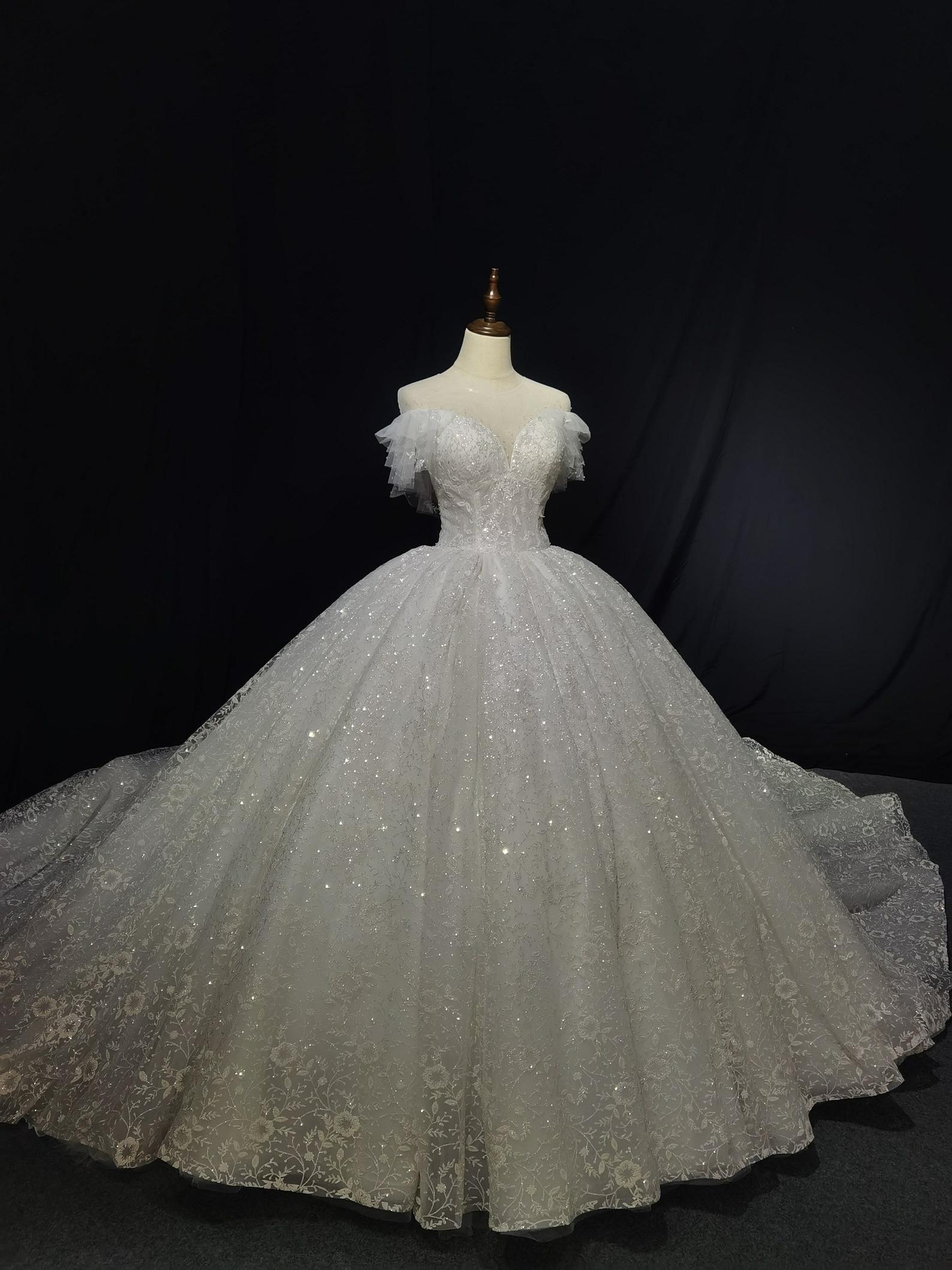 Luxury Bling Off The Shoulder With Ruffles Princess Ballgown Wedding Dress In 2021 Wedding Dresses Princess Ballgown Wedding Dresses Ball Gown Wedding Dress [ 2117 x 1588 Pixel ]