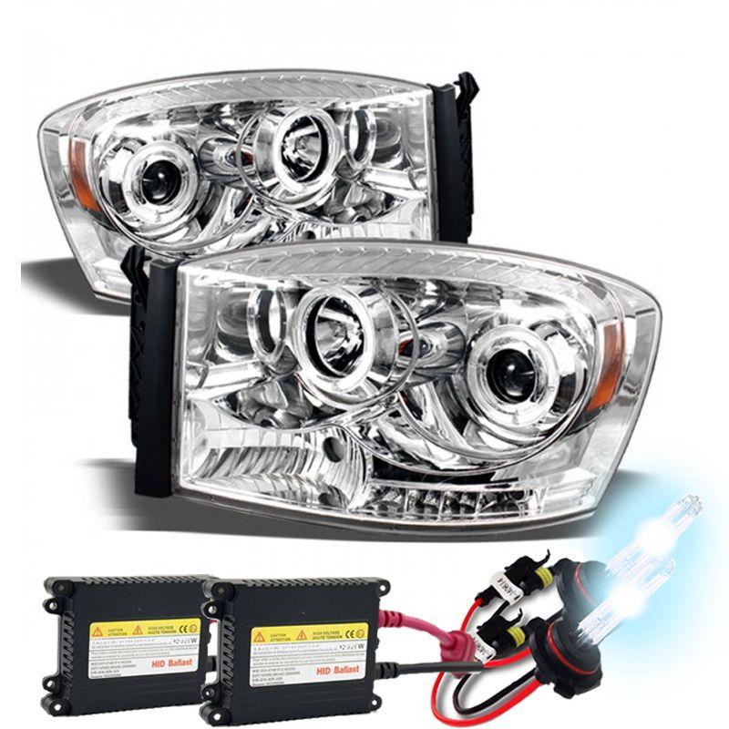 Hid Xenon 06 08 Dodge Ram Dual Angel Eye Halo Led Projector Headlights Chrome Hid Bulbs Replacement Headlights Halogen Headlights