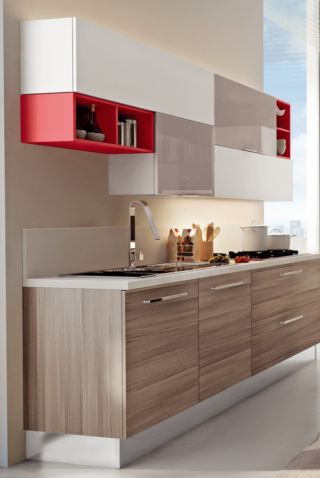 Lacquered Fitted Kitchen Swing Collection By Lube Industries