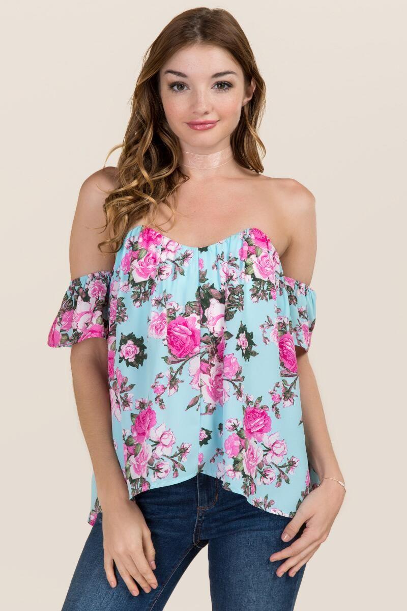 f68635e501845 Dulcie Off The Shoulder Floral Bustier Top