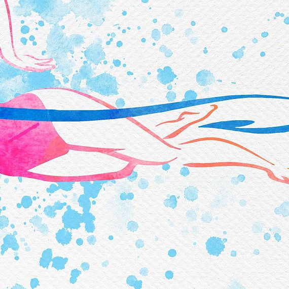 Swimmer Art Swimmer Gift Girl Swimmer Poster Swimming Wall Art Pool Decor Watercolour Swimmer Gift For Her 24x30 Print Gifts For Swimmers Pool Decor Art
