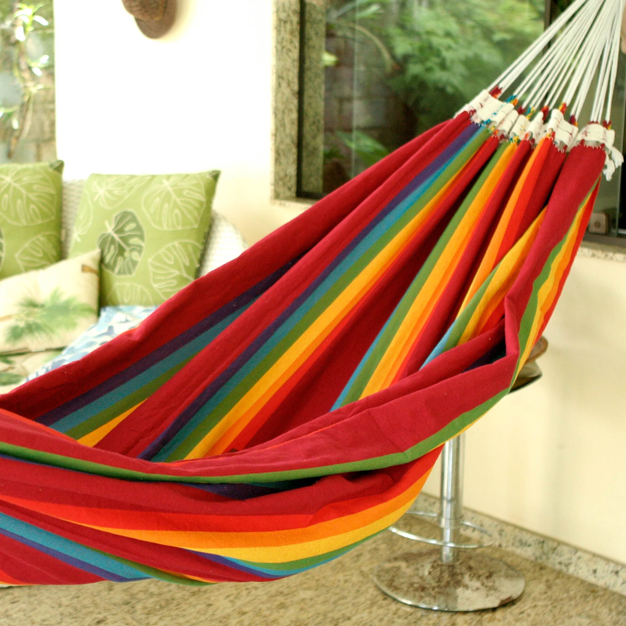 beautiful color iracema rainbow handmade striped cotton hammock  double  beautiful color iracema rainbow handmade striped cotton hammock      rh   pinterest