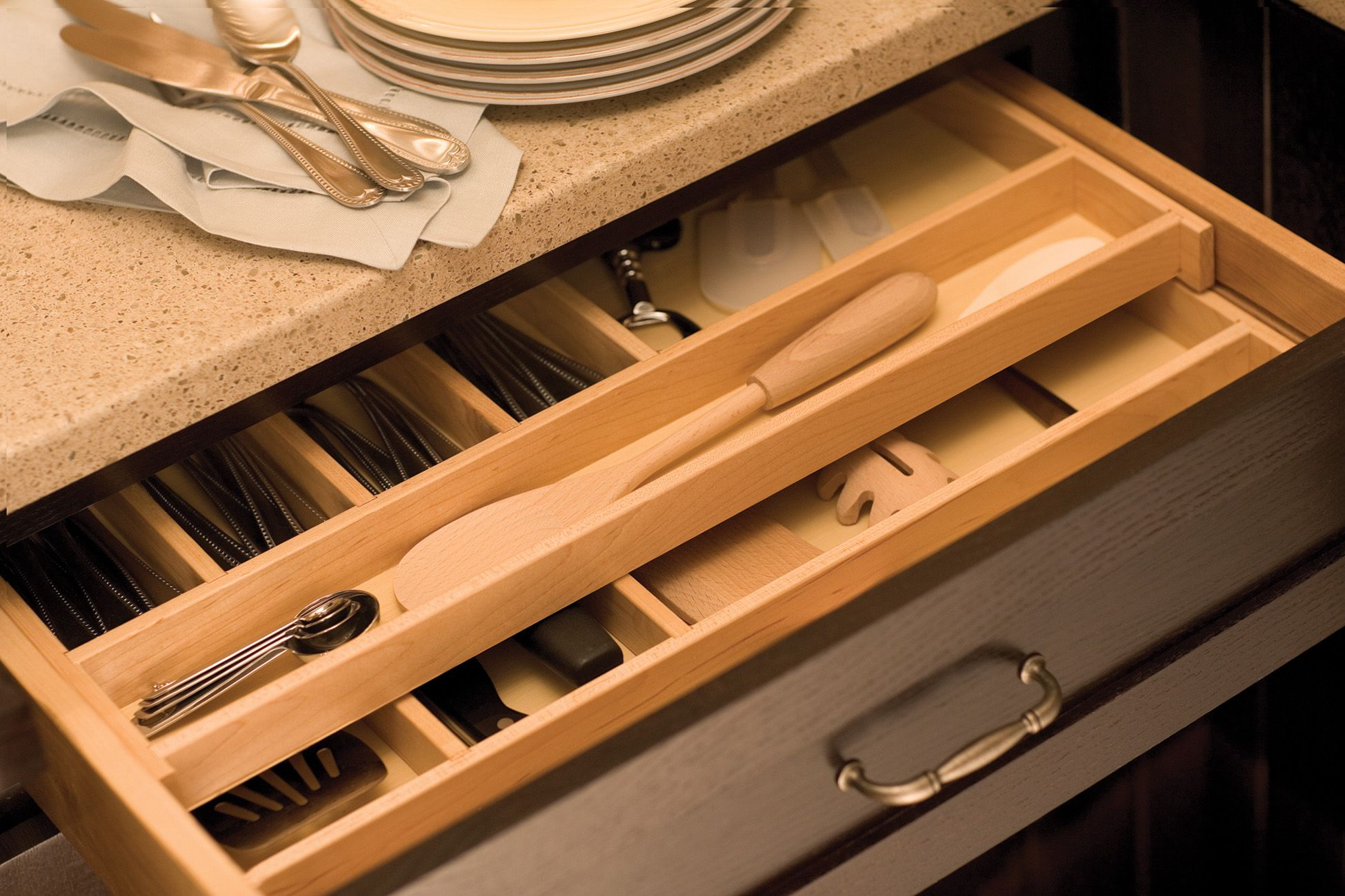 Maximize Drawer Space With A Two Tier Wood Cutlery Tray By