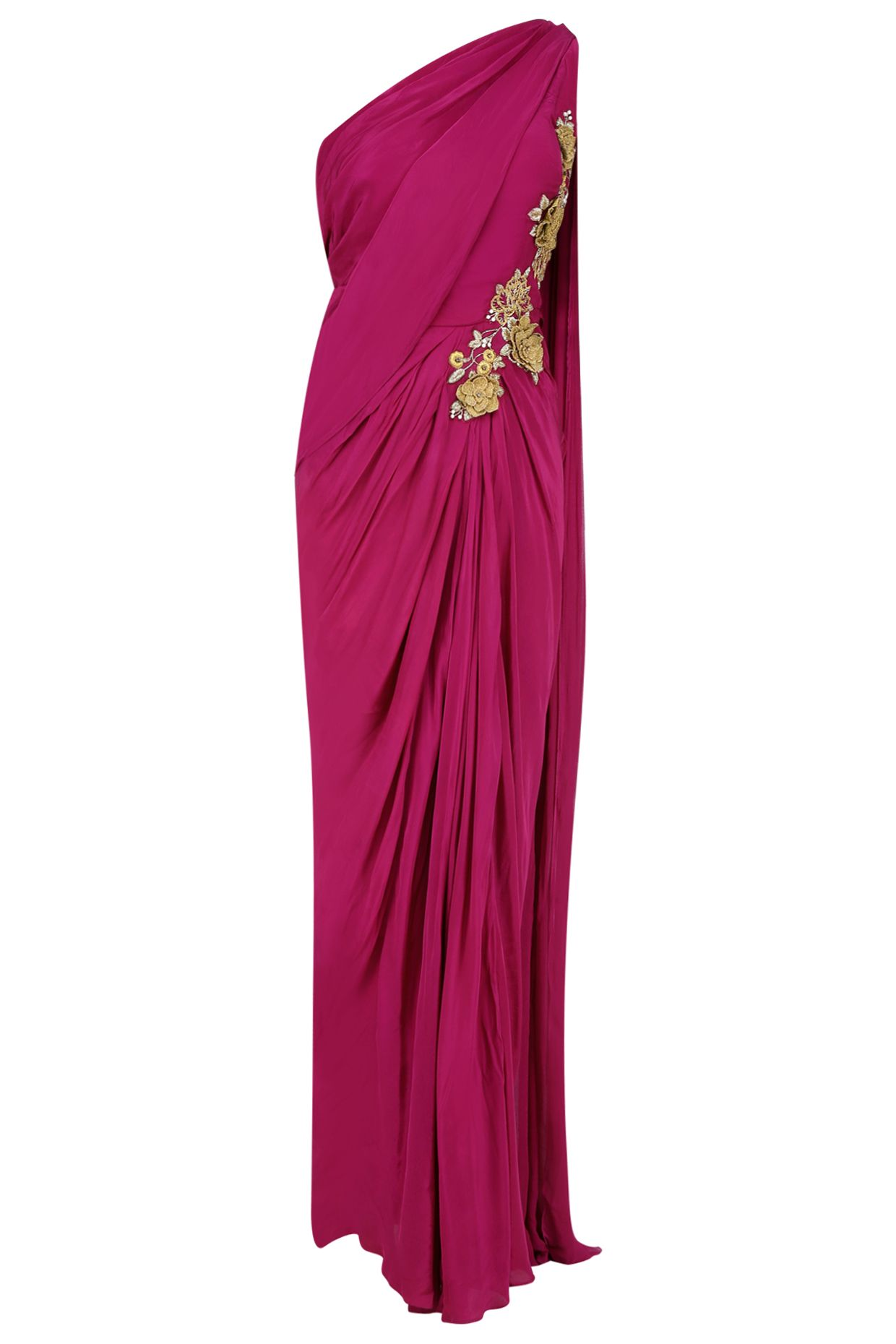 49cbe9f6aed8e7 Burgundy 3D floral applique work one shoulder saree gown available only at  Pernia's Pop Up Shop.