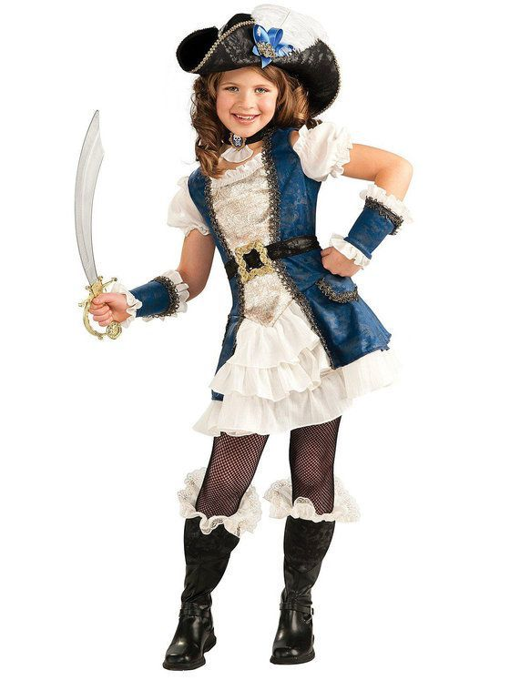 Blue Pirate Girl Child Costume #diypiratecostumeforkids