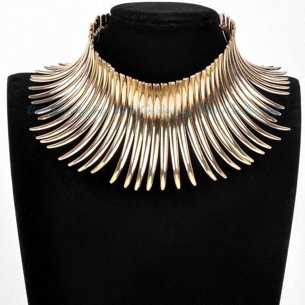 High Neck Collar Gold Tribal African Choker Necklace