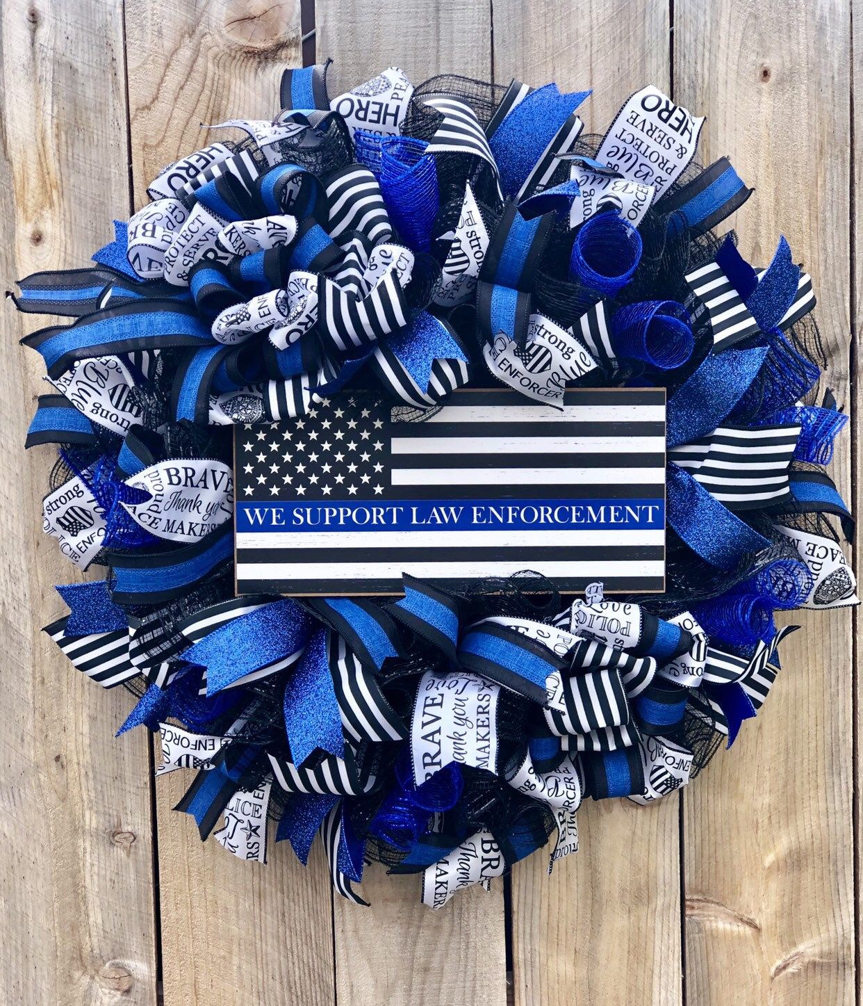 Police Support Wreath Thin Blue Line Wreath Police Gifts Police Support Blue Wreath