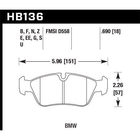 Hawk BMW 318i/318iC/318iS/318Ti/325Ci/325i/325iS/325Xi/328Ci/328iC/328iS/Z3 Race Front Brake Pads