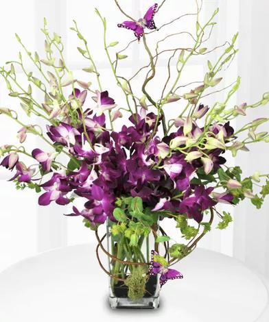 Flowers For Grave Orchid Vase Purple Orchids Orchid Flower Arrangements