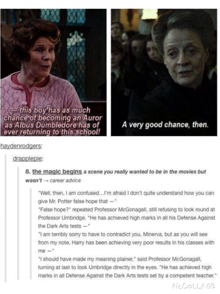 Best Line Fucking Ever! She's my favourite hands down, but her NOT concealed disdain for Umbridge always does make me SO fucking happy!