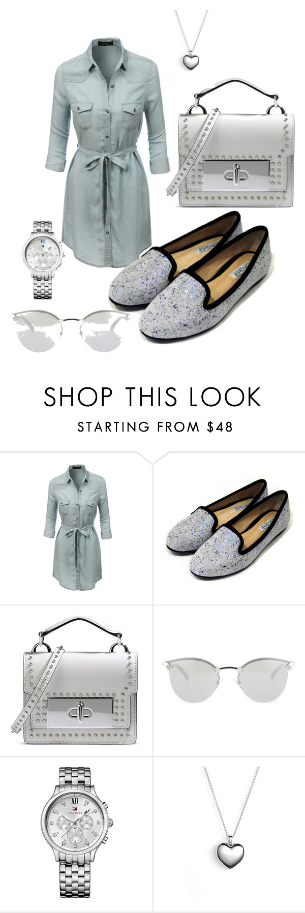 """""""Untitled #28"""" by denipoly ❤ liked on Polyvore featuring LE3NO, Marc Jacobs, Fendi, Tommy Hilfiger and Pandora"""