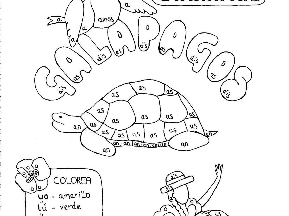 Ar Verb Practice Worksheet Spanish Color By Conjugation Ar Verb Conjugation Galapagos No Prep Practice Spanish Colors Verb Practice Verb Conjugation [ 898 x 1199 Pixel ]