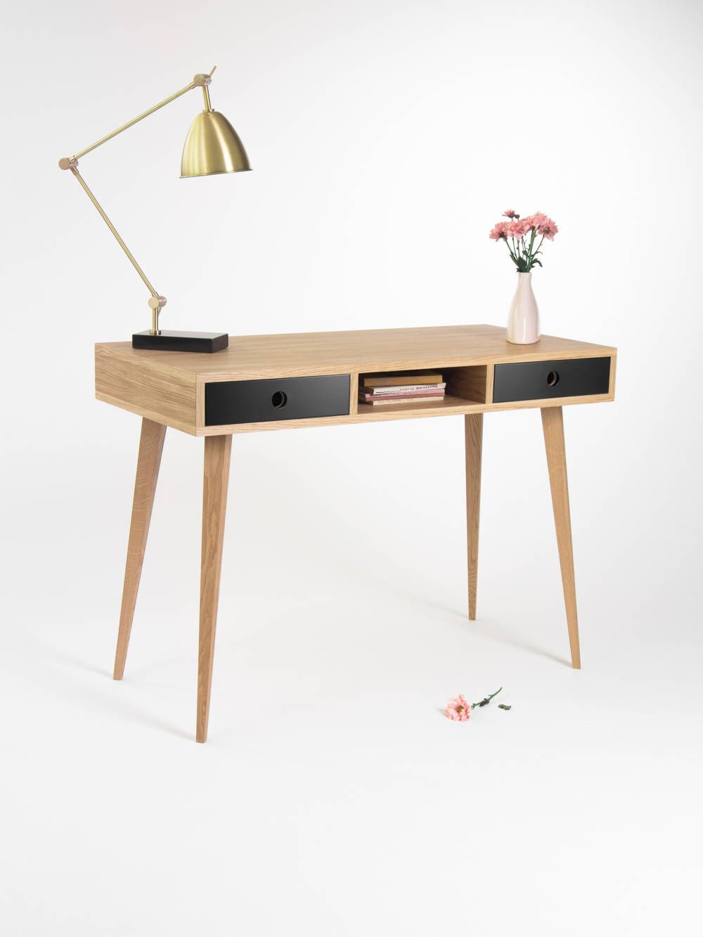 Office Table Small Desk Bureau With Black Drawers Mid Century Modern Oak Wood Customized Size And Finish Small Desk Office Table Oak Wood Desk
