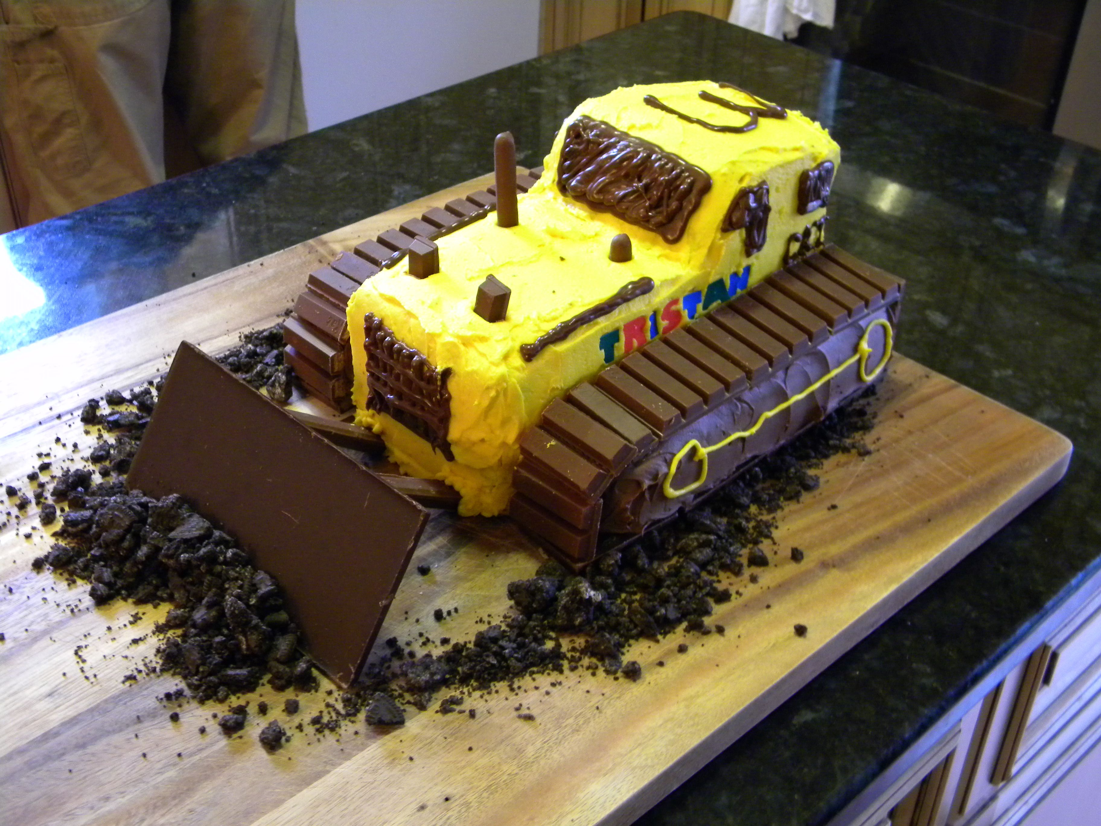 Bulldozer Birthday Cake I Made For Our Son Got The Idea From The