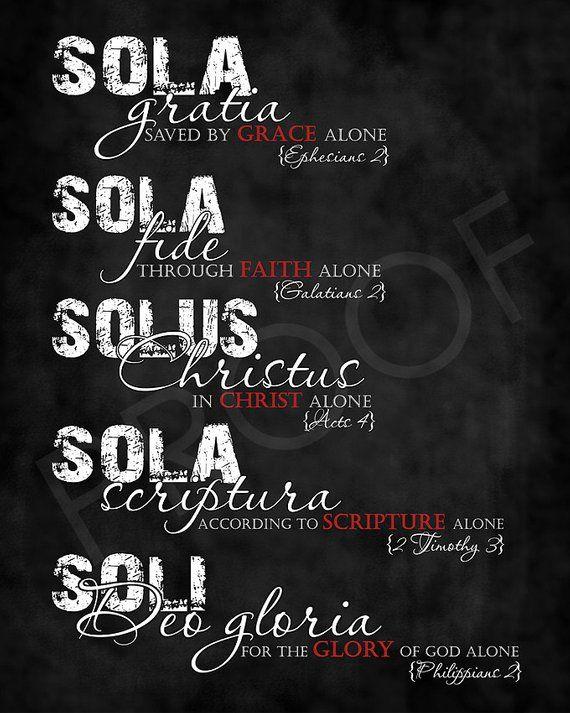 Scripture Art - The Five Solae ~ Chalkboard Style