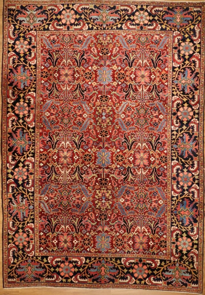 Width 9 Ft 5 In Length 13 Ft 3 In Persian Heriz Carpetcirca 1910 Wool And Wool Vegetable Dyedunusual Allover Design Unusual Heriz Rugs Persian Heriz Rug Rugs