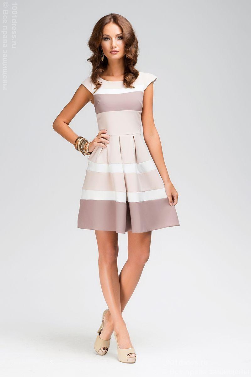 Купить бежевое платье с белыми и кофейными вставками в интернет-магазине 1001DRESS
