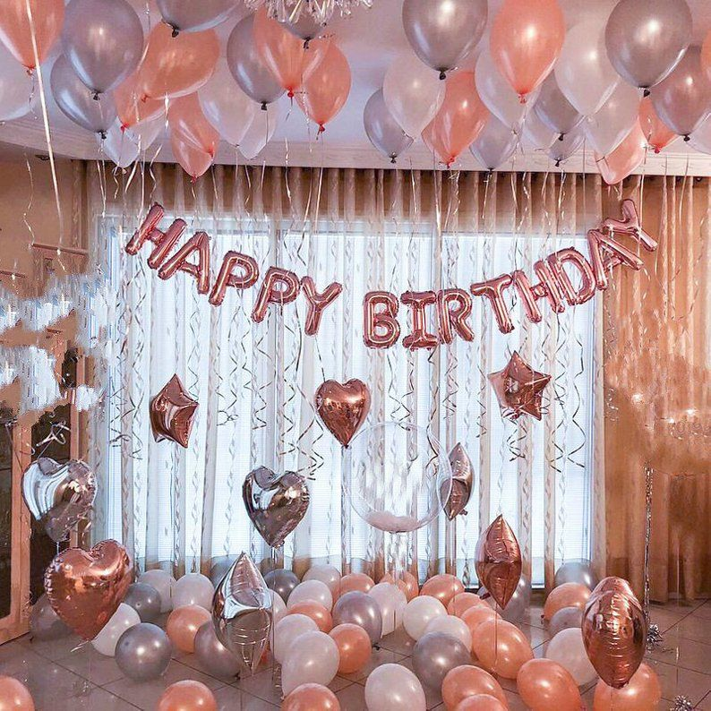 Rose Gold Happy Birthday Decoration | Rose Gold 21st Birthday Party Ideas Decor | 16th 18th Rose Gold Birthday Party Banner Sign