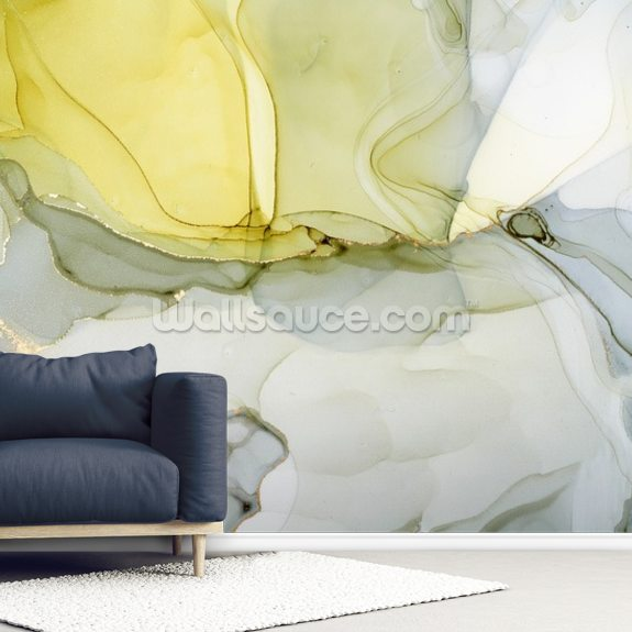 Grey And Mustard Watercolour Mural Wallsauce Us Watercolor Mural Mural Watercolor