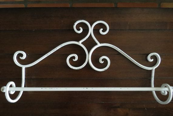 Shabby Chic Towel Bar Antique White Hanger Metaltowel Bathroom On Etsy 25 99