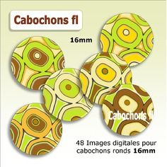 Images digitales rondes wax 16mm à imprimer cabochons