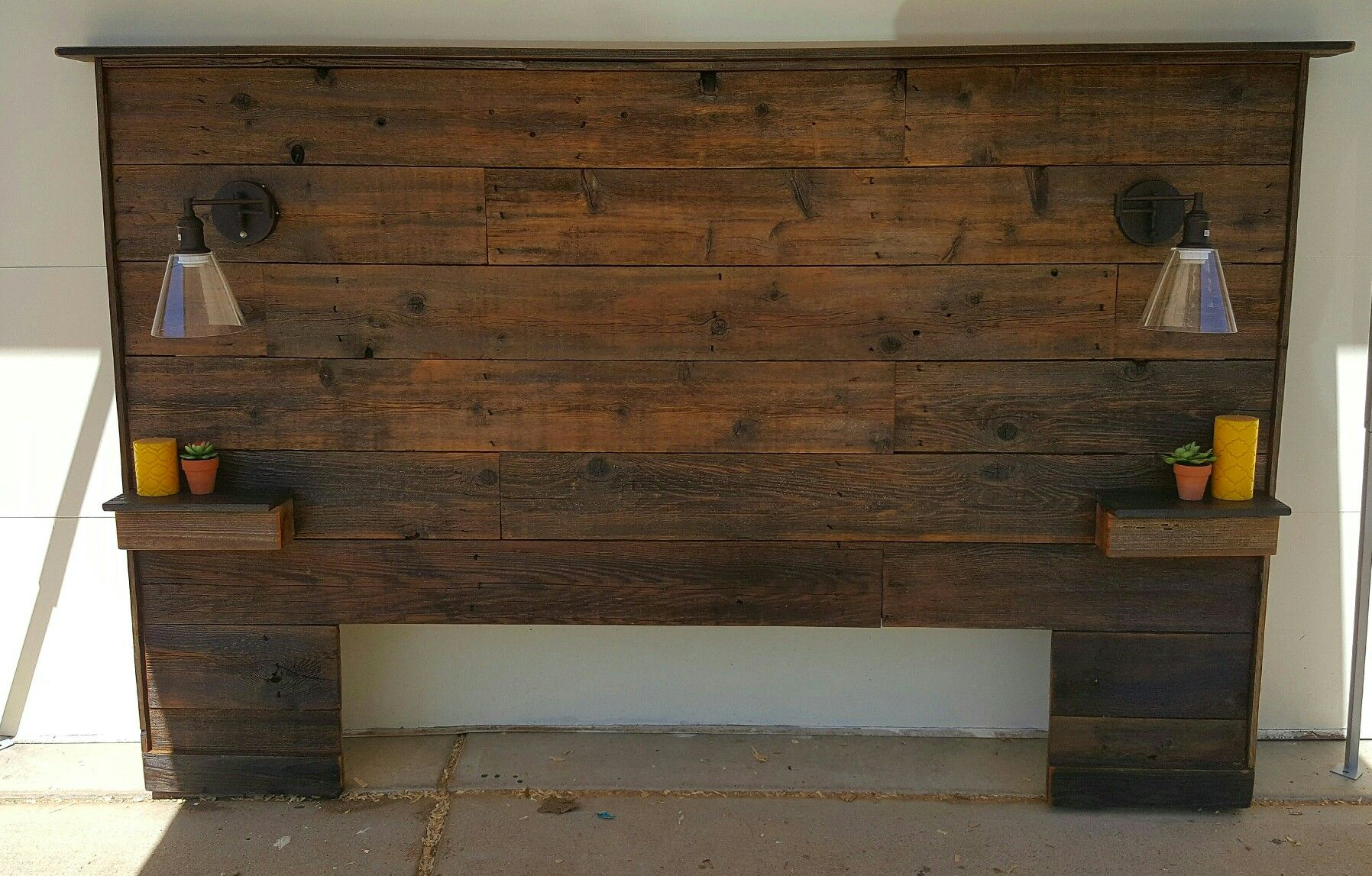 Rustic Reclaimed Cedar Queen Size Headboard With Shelves And