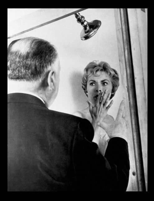 Alfred Hitchcock directing Janet Leigh